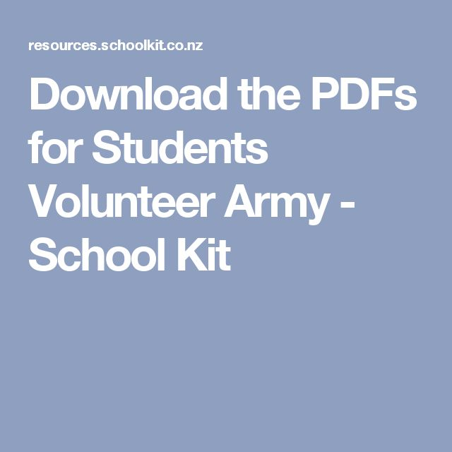 Download the PDFs for Students Volunteer Army - School Kit
