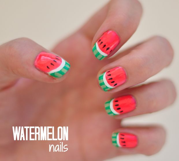 notd watermelon nails tutorial