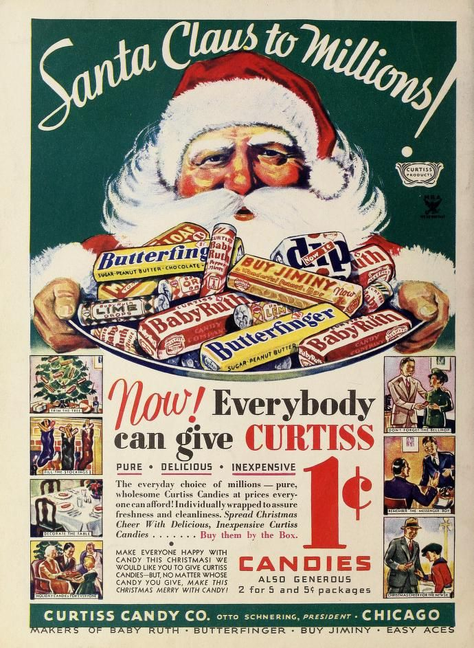 Vintage Penny Candy Christmas Ad...Butterfingers and Baby Ruths for a penny?!