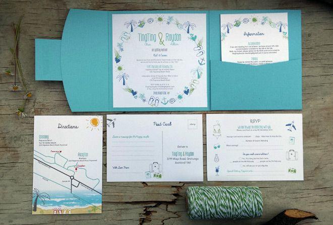 Beach wedding invitations by Beechtree Creative.
