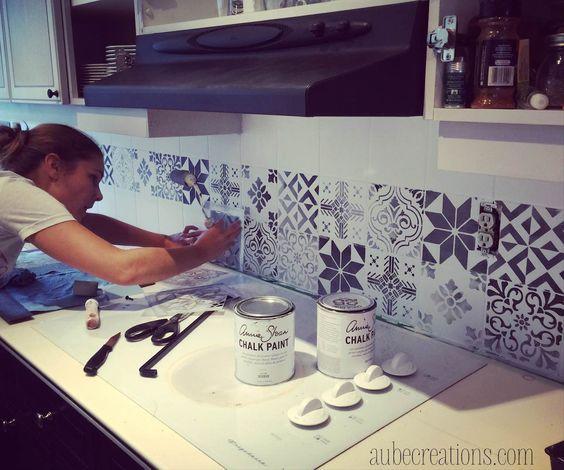 azulejos adhesivos para renovar la cocina annie sloan le marocain et carrelage mural. Black Bedroom Furniture Sets. Home Design Ideas