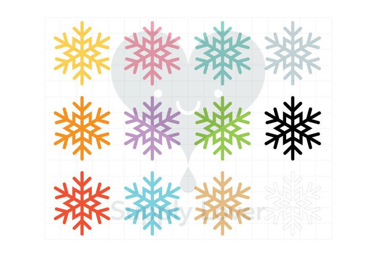 SNOW Clip-Art Commercial Use, Snowflake, Winter, Weather, Snow Crystal, Symbol, Icon, 12 Colors  - B0042