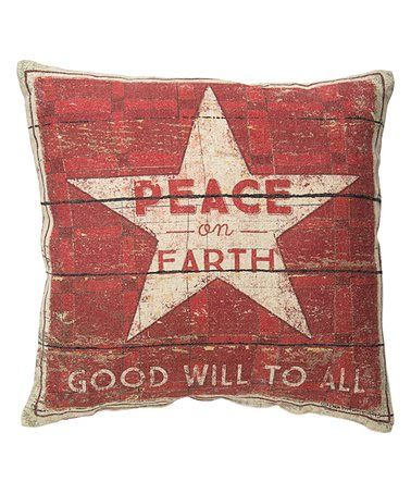 Primitives by Kathy \u0027Peace on Earth\u0027 Linen-Blend Double-Sided Throw Pillow
