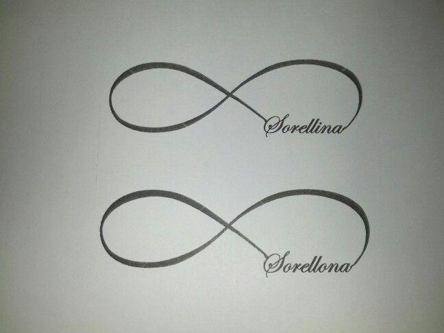 Sister tattoos... Lil sis, big sis infinity symbols in italian