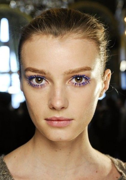 For a simple and easy pop of color to add to spice up your look, try colored mascara. It also brings out your eye color.