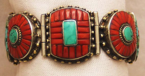 Vintage Tibetan Bracelet   Tibetan silver with Coral and Turquoise.