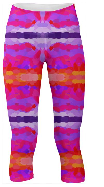 vibrant purple, hot pink and bright orange tie dye abstract yoga pants is an amazing conversation starter with matching crop top! What's in your workout bag?