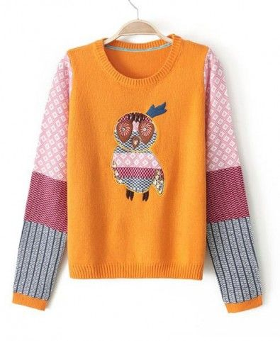 Cartoon Owl Embroidery Contrast Color Pullover - Clothing