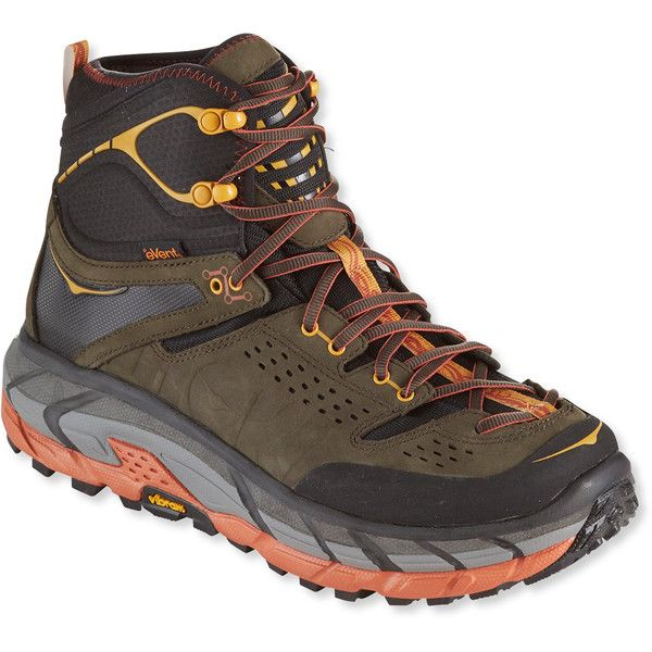 Hoka One One Men's Hoka One Tor Ultra Hi Waterproof Hiking Boots featuring polyvore, men's fashion, men's shoes, men's boots, mens waterproof boots, mens rocker boots, mens hiking boots, mens rocker bottom shoes and mens waterproof shoes
