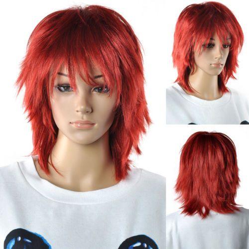 Экспресс-доставка в США Мода Мужчины Женщины Партии Косплей Красные Длинные Прямые Волосы Женщины Синтез Волос Полный Парик короткие парики