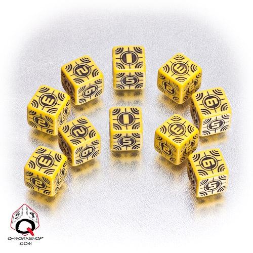Yellow-black Sniper battle dice set