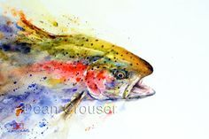 RAINBOW TROUT Watercolor Fish Print by Dean by DeanCrouserArt
