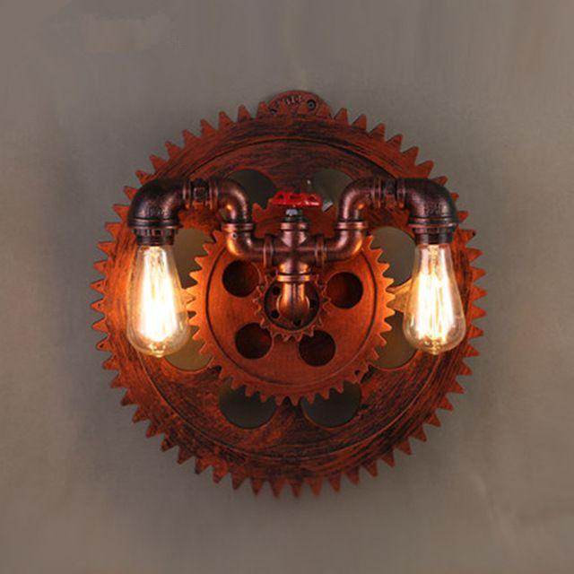 Винтаж передач форма железная стена лампы промышленные водопровод стены Socnces…