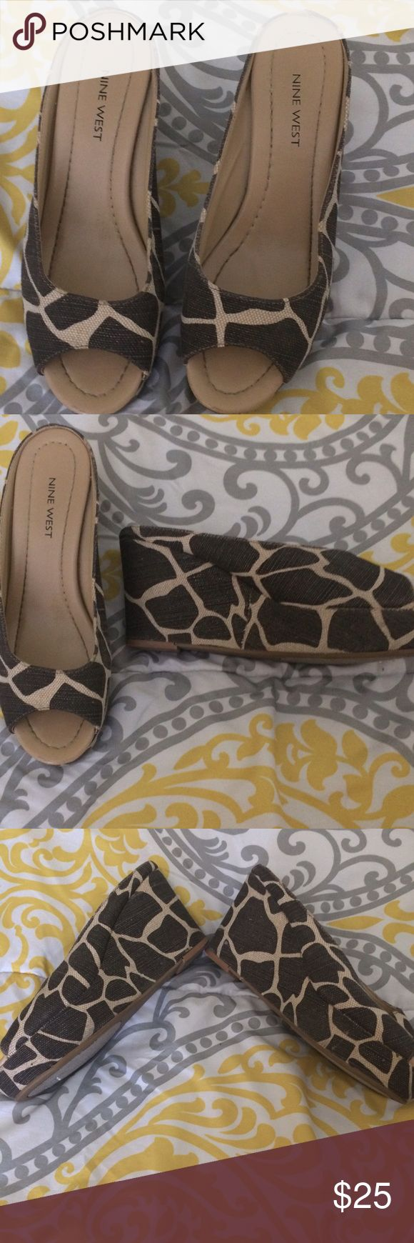 Nine West Dayside Animal Print platform mules Gently used  wedge open toe measures 3 1/4 inch he and 9 inches toe to heel on soles Nine West Shoes Platforms