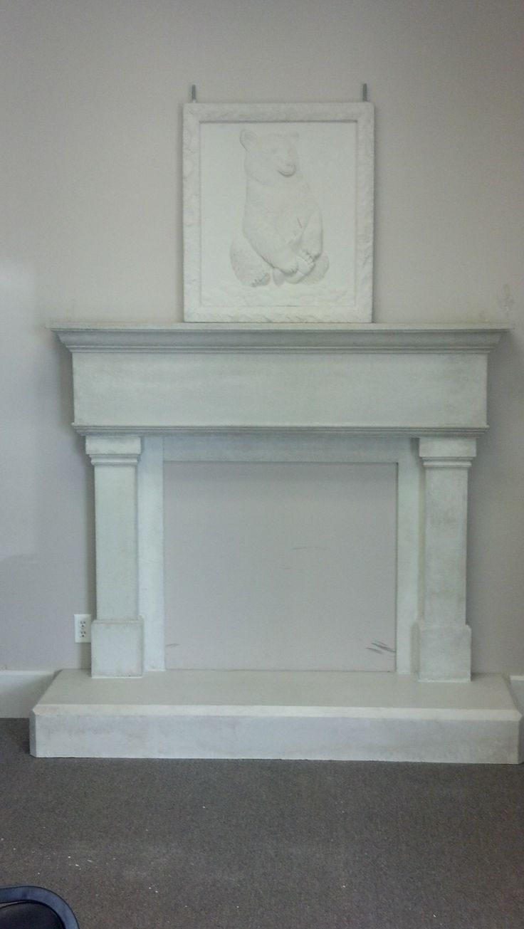 my precast mantel and bear topper i made it stacey mitchell 801-602-7781