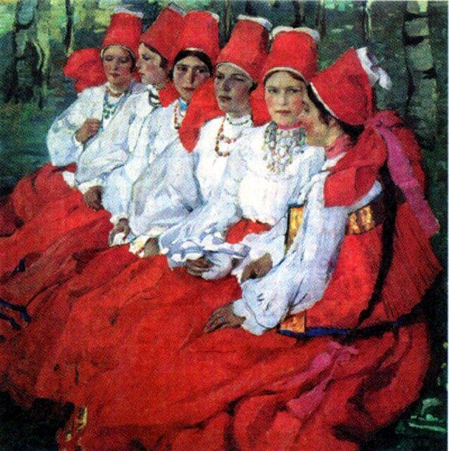 E.A. Kiselyova. Brides. Trinity day (1907) - Киселёва, Елена Андреевна — Википедия. Елена Киселёва. «Невесты. Троицын день» (1907)