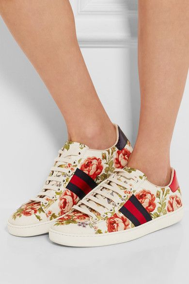 Gucci for NET-A-PORTER - New Ace Floral-print Canvas Sneakers - Off-white - IT41.5