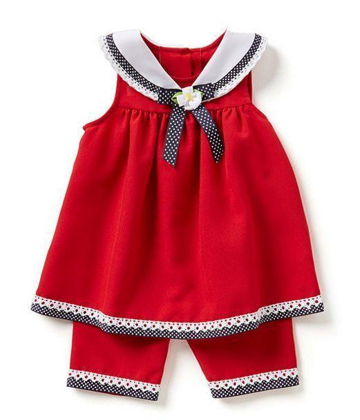 Bonnie Jean Niñas Rojo Sailor Náutica Vestido Traje Capri Baby Set 12m 18m 24m
