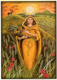 (Mother Goddess by Wendy Andrews) Lammas (Lughnasdh), it's time to begin reaping what we have sown throughout the past few months, and recognize that the bright summer days will soon come to an end. It's the season when the first grains are ready to be harvested and threshed, when the apples and grapes are ripe for the plucking, and we're grateful for the food we have on our tables. Lammas calls for a feast!