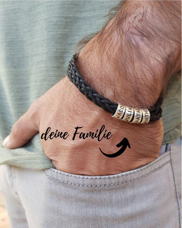 Herren-Armband mit kleinen personalisierten Beads in Silber