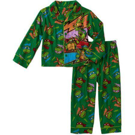 Teenage Mutant Ninja Turtles Baby Toddler Boy Button Down Pajama Sleepwear Set, Green