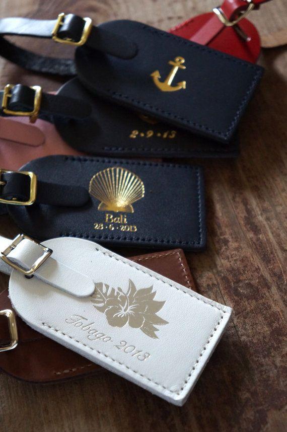 Wedding Favors - Foil Pressed Elegance Leather Luggage Tags (Minimum Order of 75…