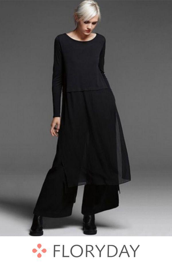 Solid long sleeve midi shift dress d8d1a21a0
