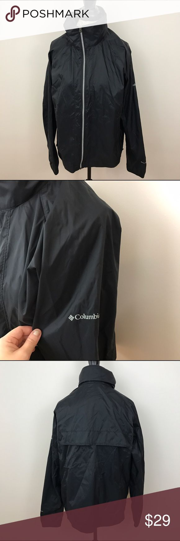 EUC! Men's Columbia Black Windbreaker Jacket. XL EUC! Men's Columbia Black Windbreaker Jacket. Hidden hood in collar. Full zipper jacket. No flaws. Size XL Columbia Jackets & Coats
