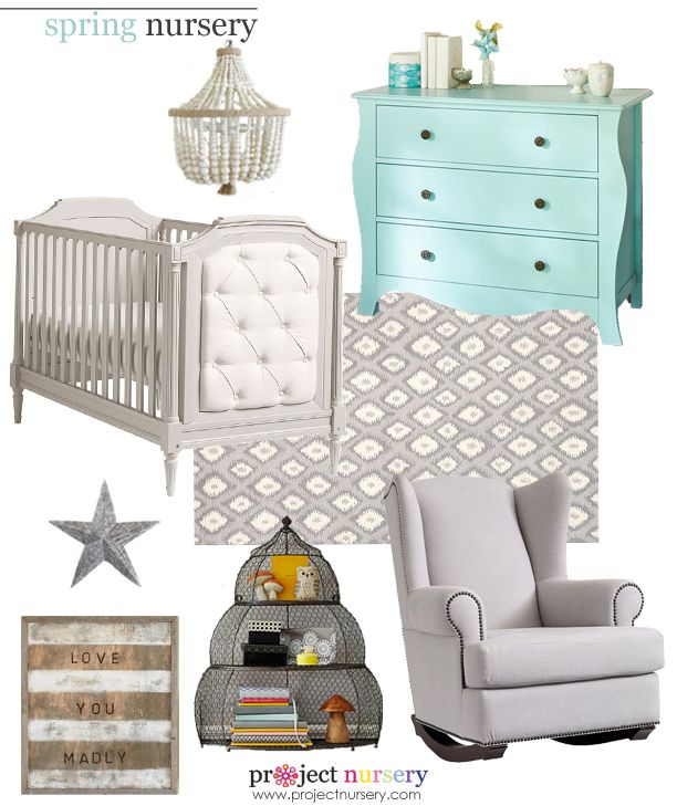 Spring-Inspired #Nursery Design Board - All items from @Pottery Barn Kids! #designboard