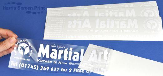Car Window Stickers white print onto clear vinyl