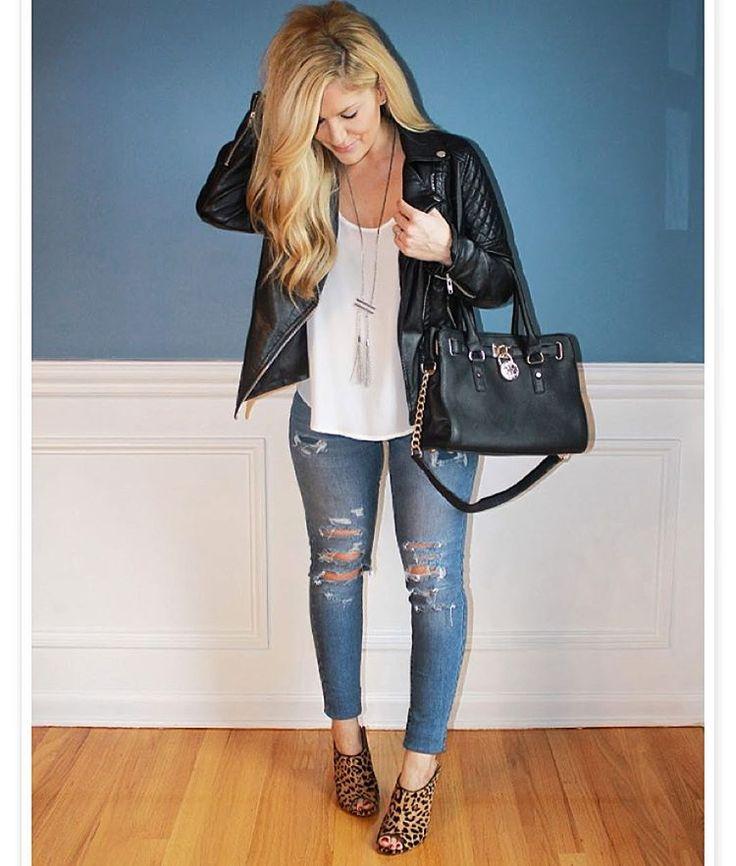 Today's full look on the blog! #fauxleather #motojacket #denim #distresseddenim #leopardprint #muleheels #fallfashion #fall #fashion #fashionblog #style #styleblog #blogger #beautiful #girl #love #hot #blonde #realoutfitgram #lookbook #whatiwore #hair #streetstyle #follow #followme #ootd #outfit