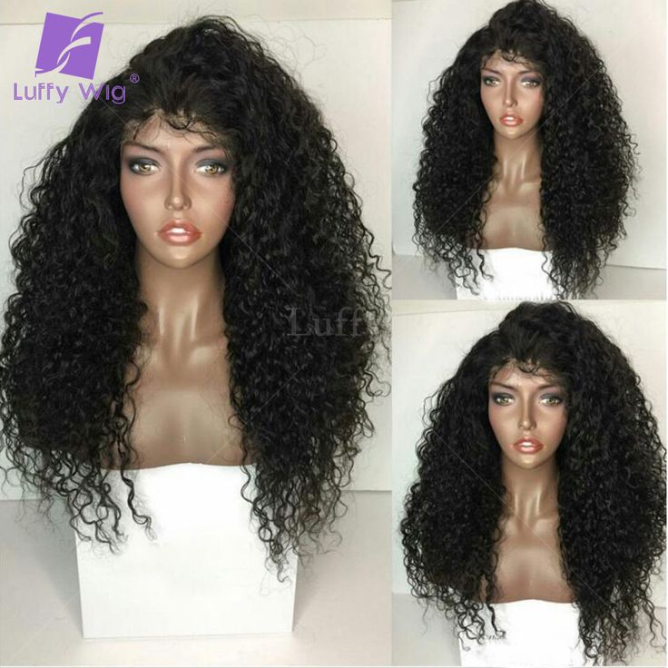Luffy Pre Plucked Full Lace Human Hair Kinky Curly Wigs 180% Density Black Women Mongolian Lace Front Curly Wigs With Baby Hair