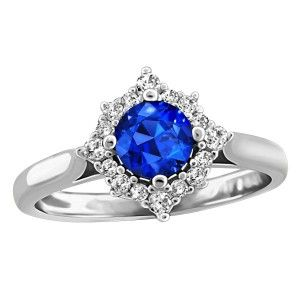 14KT White gold 0.18 ctw diamond and blue sapphire ring. RIN-LGM-2141