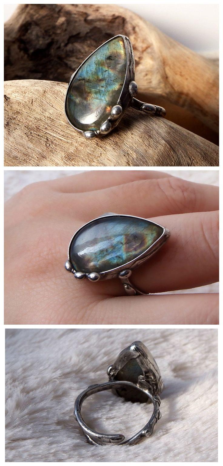 Labradorite drop ring by Alice Savage. Handmade tiffany technique, soft solder, adjustable ring, artisan, style, crystal healing, magic, witch, pagan, bohemian, hippie