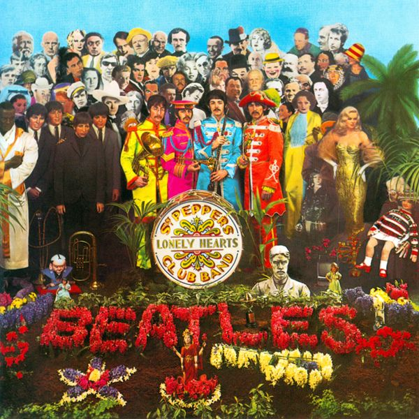The Beatles - Sgt. Peppers Lonely Hearts Club Band 1967 album included floral display incorporating the word Beatles spelled out in the flowers was the first time this had been done and it was a landmark album cover that changed it cover concepts graphically.