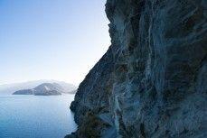 The road around the edge of Lake Hawea into Dingleburn Station, Hawea, New Zealand.