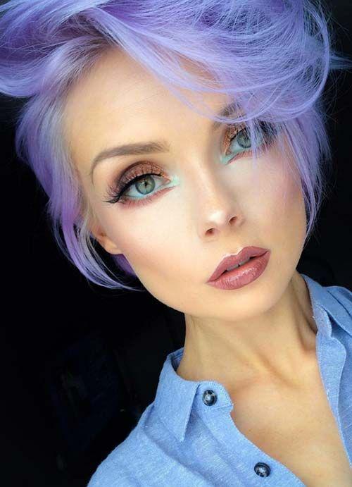 Short Hairstyles for Women with Thin/ Fine Hair: Purple Pixie  #thinhair shorthairstyles #finehair