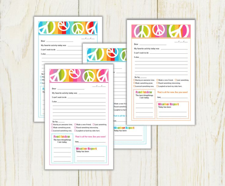 Summer Camp Stationery peace signs Digital by eloycedesigns