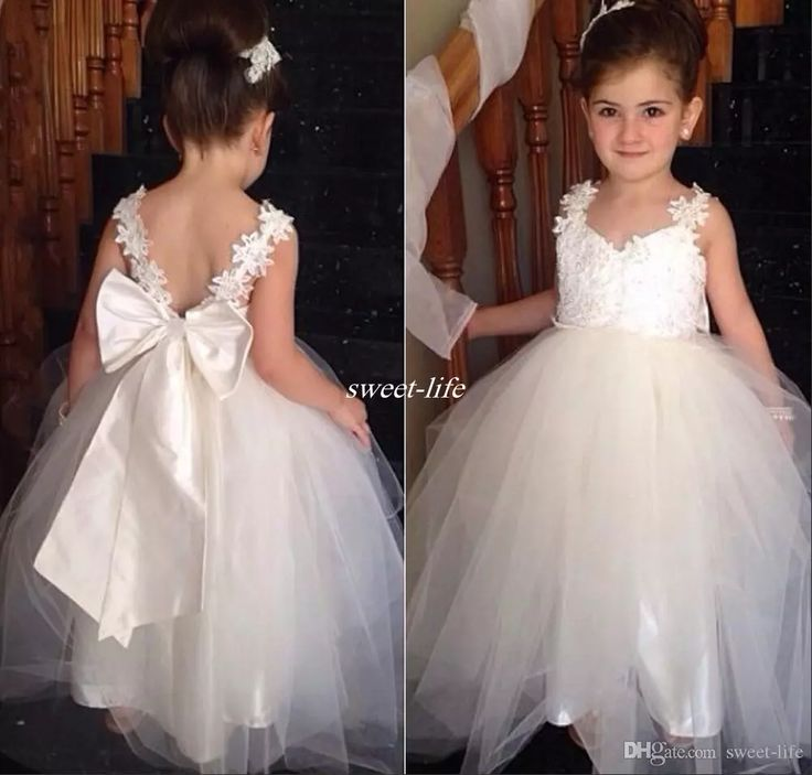 Lovely Flower Girls Dresses For Weddings V Neck Tulle Floor Length Backless Ball Gown Junior Bridesmaid Dresses For Girls First Communion Flower Girl Dresses Cheap Communion Dresses Online with $68.0/Piece on Sweet-life's Store | DHgate.com