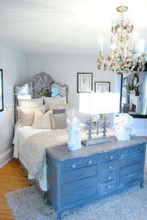 I love this idea of using a dresser as a footboard of the bed. by Nina<3