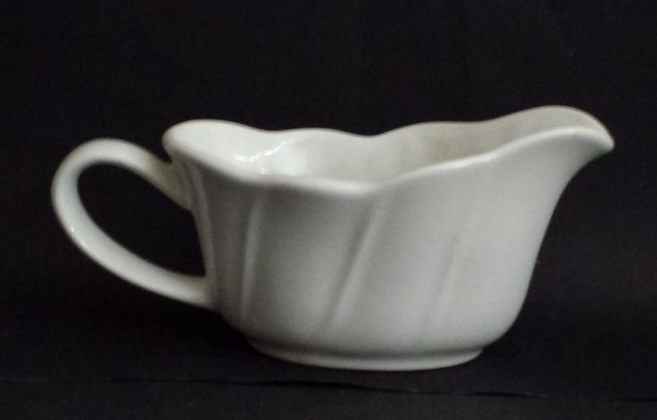 #collectible vintage Pflazgraff gravy boat white porcelain ovenproof USA withing our EBAY store at  http://stores.ebay.com/esquirestore