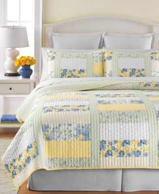 Martha Stewart Collection Blue & Yellow Patchwork Posey Full/Queen Quilt