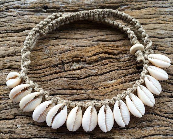 Handmade Hemp Macrame Necklace with Cowrie by MustangAndSally