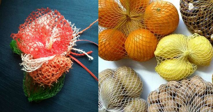 Broche floral realizado con maya-red para transporte de fruta