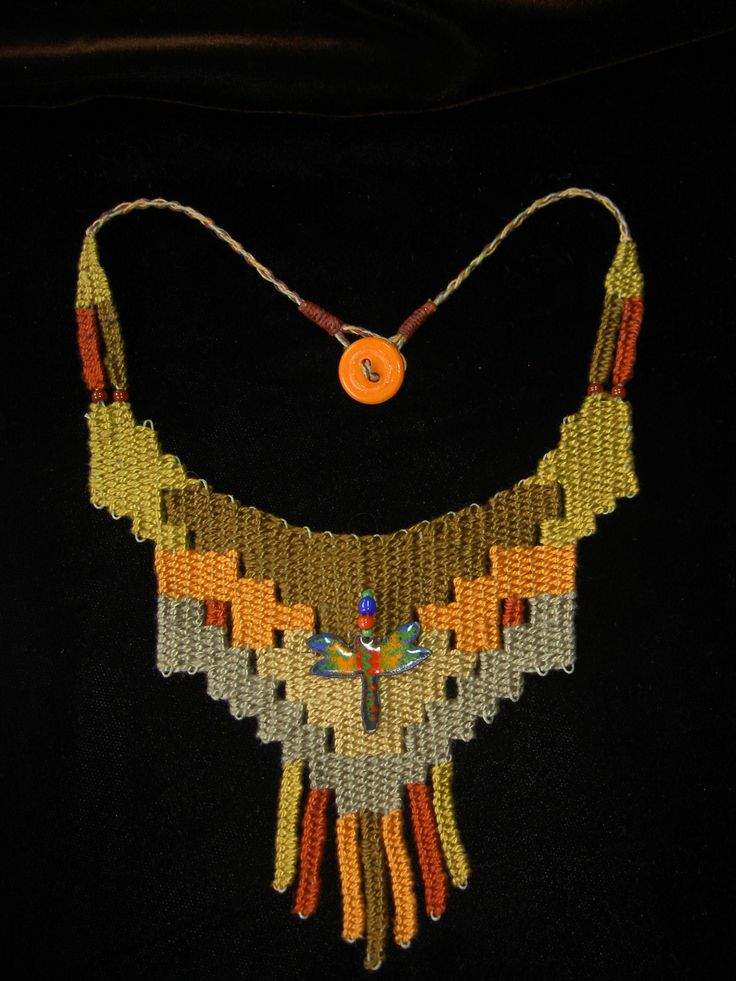 """""""Dragonfly"""" - 2012 - Fixed length choker with vintage button, stair-step design.  SOLD.  Hand woven, handwoven, weaving, weave, needleweaving, pin weaving, woven necklace, fashion necklace, wearable art,  fiber art, www.theravenscache.shutterfly.com"""