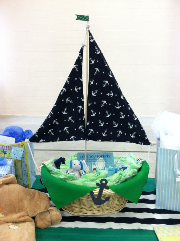 Sail boat gift basket that can be used in the nursery to hold diapers.  #fabric#nautical #anchor