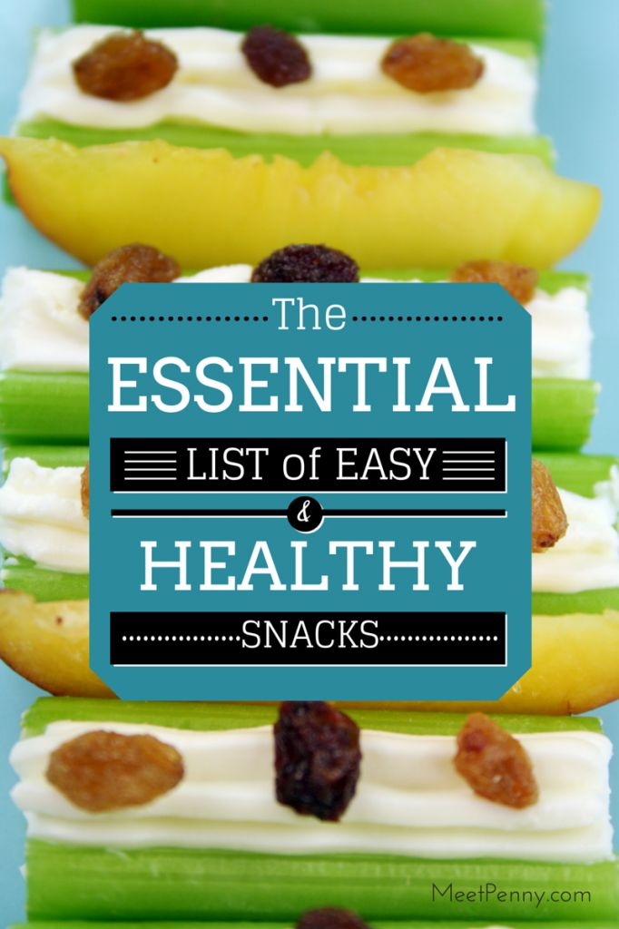 Easy, healthy snack list with over 80 ideas from MeetPenny.com. Includes a free printable!