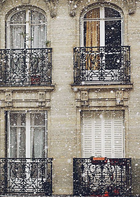 Paris, France...snowing