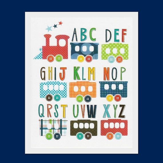Nursery art prints, Children room decor, kids wall art, boys nursery print, baby boy room art, train, alphabet, transport $13.45
