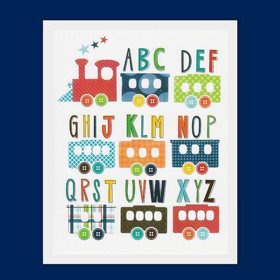 Nursery art prints, Children room decor, kids wall art, boys nursery print, baby boy room art, train, alphabet, transport $13.45